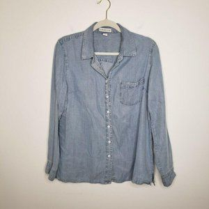 Coldwater Creek Chambray Button Shirt Pockets Blue